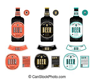Set of templates labels for lager beer. Label with color...