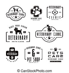 Set of veterinary clinic labels. Black print on white...