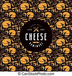 Cheese label and frame with pattern. Cover design for...