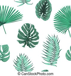 Exot tropical green leaves seamless pattern float - Exotic...