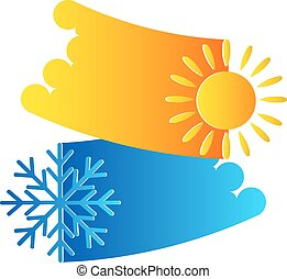 Air conditioning system, sun and snowflake