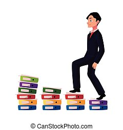 Young businessman climbing piles of documents, career ladder concept