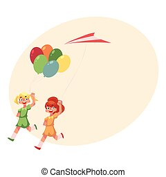 Two teenage girl friends running together with balloons and...