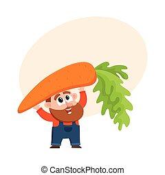 Funny farmer, gardener character in overalls holding huge, giant carrot