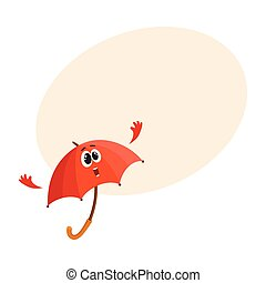 Funny smiling umbrella character giving, showing thumb up -...