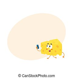 Cute and funny cheese chunk character holding smartphone,...