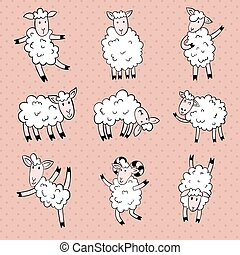 sheeps - vector set of cute sheep in different poses on...