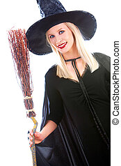 Witch - Portrait of young female in black hat and black...