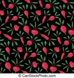 black beetroot - vector seamless pattern with beetroots on...