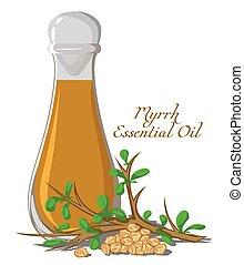 Essential oil of myrrh - Bottle with essential oil of Myrrh...