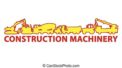 Construction machinery icon symbol. Ground works sign....