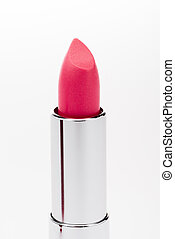 Close-up view of open pink lipstick isolated on white