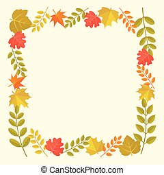 leaves frame in autumn theme, for thanksgiving