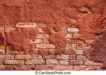 Ochre bricks wall - Red bricks with ochre paint peeling off...