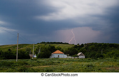 A real summer thunderstorm in the countryside.