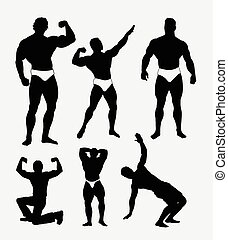 Body builder pose silhouette. Good use for symbol, web icon,...