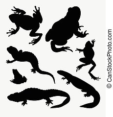 Amphibian and reptilian animal silhouette. Good use for...