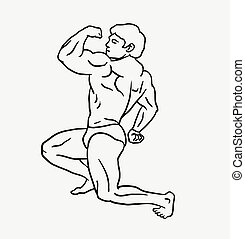 Body builder sketch style - Male muscle showing body builder...