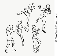 Thai boxing sport hand drawing. Good use for symbol, web...