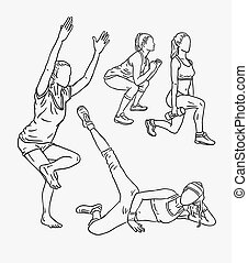 Fitness training sport line art drawing style. Good use for...