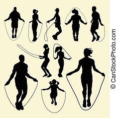 Jump rope sport activity silhouette. Good use for symbol,...
