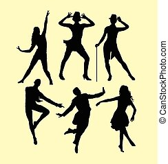 Dançar, silueta, homem, mulheres