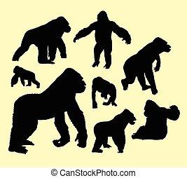 Gorilla wild animal silhouette