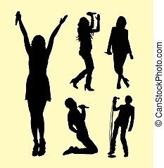 Singer male and female action silhouette