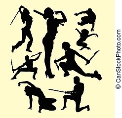 Using weapon martial art silhouette