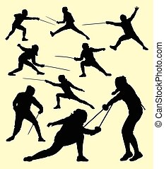 Fencing sport silhouette