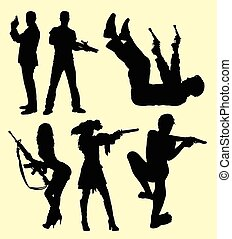 People with gun silhouette