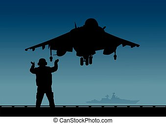 An aircraft carrier, a plane with vertical take-off and a deck crew..eps