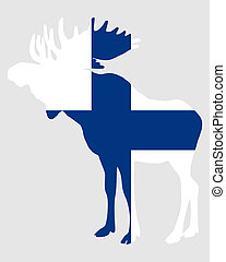Moose in finnish flag