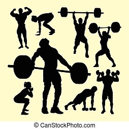 Fitness, body building and wightlifting silhouette -...