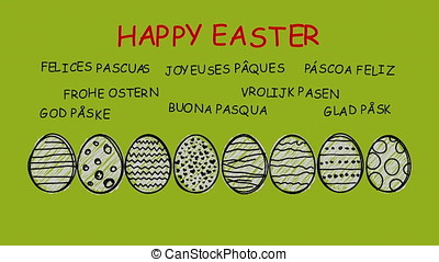 Happy Easter - animated hand drawn easter eggs - sequence -...