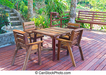 Wooden table and chair in resort and garden, dining set at...