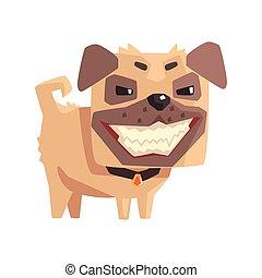 Mischievous Little Pet Pug Dog Puppy With Collar Emoji...