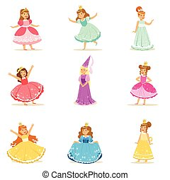 Little Girls In Princess Costume In Crown And Fancy Dress Set Of Cute Kids Dressed As Royals Illustrations