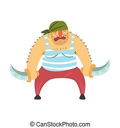 Scruffy Pirate With Moustache In Bandana With Two Knives,...
