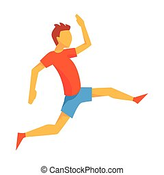 Man Accelerating For Triple Jump, Male Sportsman Running The...