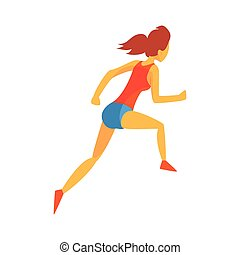 Woman Racing With Hurdles, Female Sportsman Running The...
