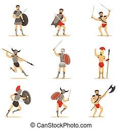 Gladiators Of Roman Empire Era In Historical Armor With...