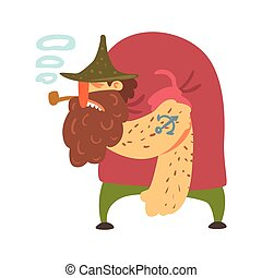 Hunchback Scruffy Pirate With Pipe And Anchor Tattoo, Filibuster Cut-Throat Cartoon Character