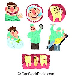 Funny Cartoon Dentist And Patient Illustration Set With...