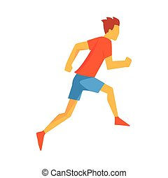 Man Racing With Hurdles, Male Sportsman Running The Track In...