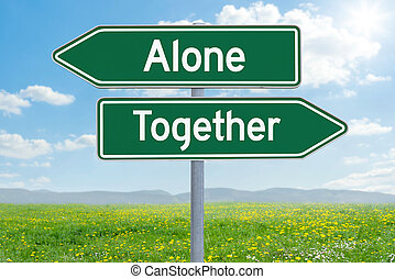 Two green direction signs - Alone or Together