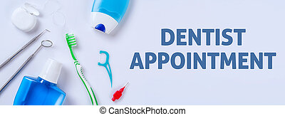 Oral care products on a light background - Dentist...
