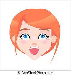 Redhead Woman Laughing Face Flat Vector Icon - Young woman...