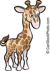 Giraffe Safari Animals Cartoon Character - A giraffe safari...