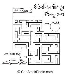 Cartoon Alligator Maze Game
